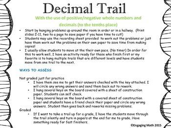 Adding Positive and Negative Decimals Trail B (decimals to