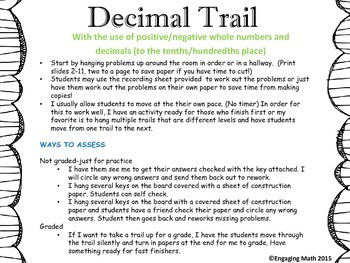 Adding Positive and Negative Decimals Trail C (decimals to the hundredths place)