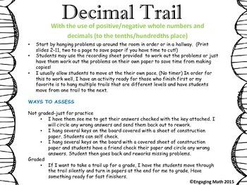Adding Positive and Negative Decimals Trail C (decimals to