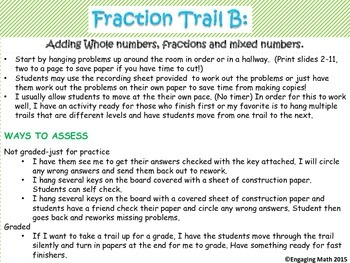 Adding Positive and Negative Fractions Trail B (includes mixed numbers)
