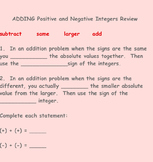 Adding Positive and Negative Integers Review on Smartboard