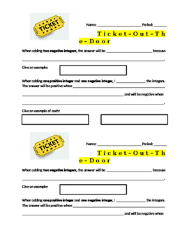 Adding Positive and Negative Integers Ticket Out The Door