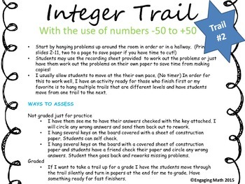 Adding Positive and Negative Integers (Trail Bundle - 3 leveled trails)