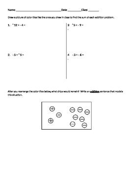 Integers 05 - Adding Positive and Negative Integers Using Color Tiles