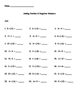 Adding Positive and Negative Numbers Worksheet by Kris Milliken | TpT