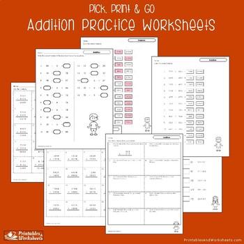 Adding Practice Sheets, Addition Homework Worksheets