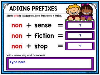 Adding Prefixes Activity for Google Drive and Google Classroom