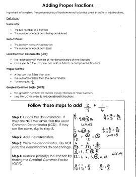 Adding Proper Fractions Resource