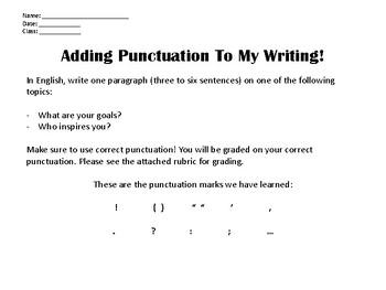 Punctuation Exit Ticket