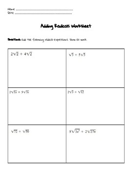 Adding Radicals Worksheet