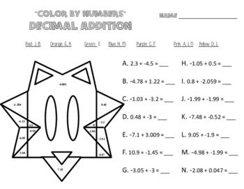 Adding Rational Number Worksheets  Color By Numbers  Fractions  Adding Rational Number Worksheets  Color By Numbers  Fractionsdecimals