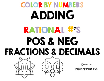 Adding Rational Number Worksheets - Color by Numbers - Fra