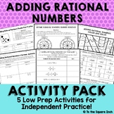 Adding Rational Numbers Activities