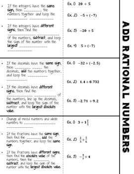 Adding Rational Numbers Foldable (Guided Notes + Examples)