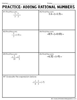 Adding Rational Numbers Notes