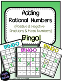 Adding Rational Numbers (Positive & Negative Fractions & Mixed Numbers) Bingo