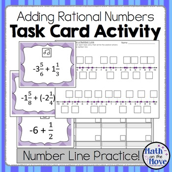 Rational Number Addition - Task Card Activity