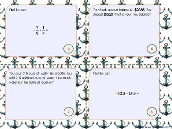 Adding Rational Numbers Task Cards (Scoot!)
