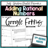 Adding Rational Numbers- for use with Google Forms