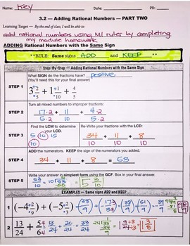 Adding Rational Numbers pt. 2