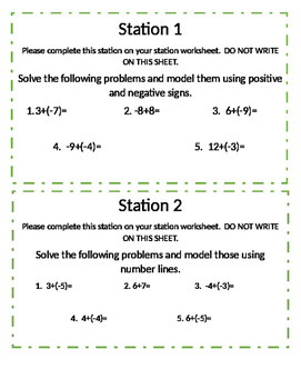Adding Rational Numbers Stations