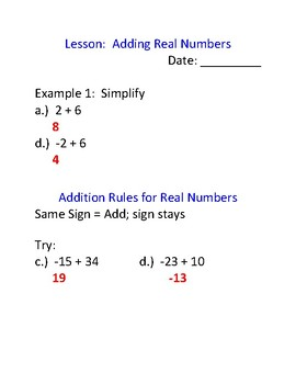 Adding Real Numbers