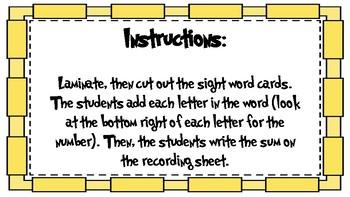 Adding Sight Words First Grade First Nine Weeks