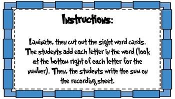 Adding Sight Words First Grade Fourth Nine Weeks