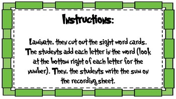 Adding Sight Words First Grade Third Nine Weeks