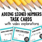Adding Integers Task Cards with Video Explanations