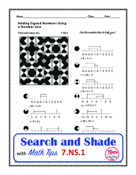 Adding Signed Numbers Using a Number Line Search and Shade