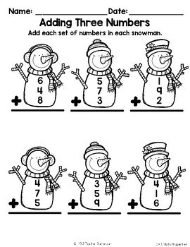 Adding Snowman (Adding 3 numbers) - 1.OA.6