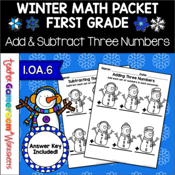 Adding Three Numbers Winter Worksheets