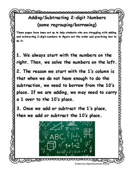 Adding & Subtracing 2-digit numbers with borrowing & regrouping