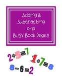 Adding & Subtracting 0-10 Busy Book Pages