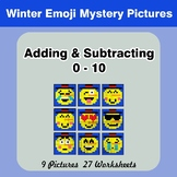 Adding & Subtracting 0-10 - Math Mystery Pictures - Winter Emoji