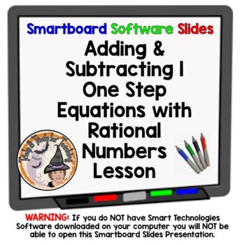 Adding & Subtracting 1-Step Equations with Rational Numbers Smartboard Practice