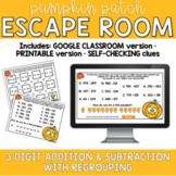 Adding & Subtracting 3 Digit Numbers Digital Fall Pumpkin ESCAPE ROOM