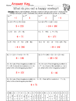 Adding & Subtracting Complex Numbers Riddle Activity