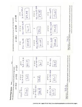 Adding & Subtracting Decimal Magic Squares