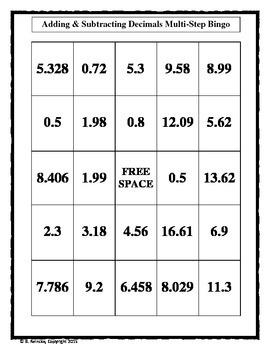 Adding & Subtracting Decimal Mult-Step Bingo (30 pre-made boards!)