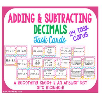 Adding & Subtracting Decimal's Task Cards