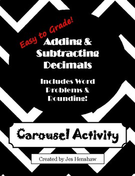 Adding & Subtracting Decimals CAROUSEL ACTIVITY (includes rounding)