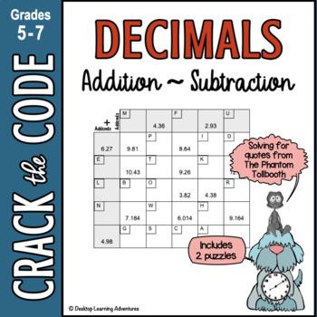 Decimals: Adding & Subtracting ~ Crack the Code Math Practice