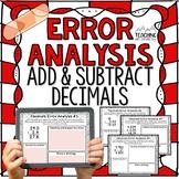 Adding and Subtracting Decimals Error Analysis