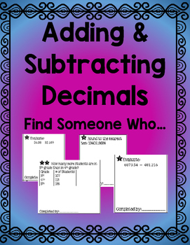 Adding & Subtracting Decimals Find Someone Who... Activity