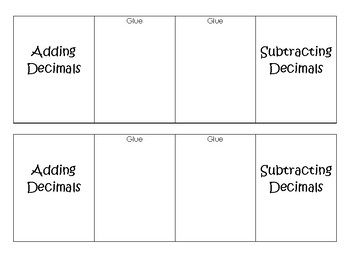 Adding Subtracting Decimals Foldable