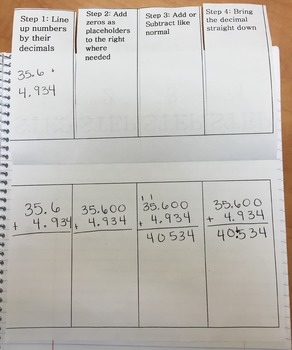 Adding & Subtracting Decimals Foldable Interactive Notebook Entry