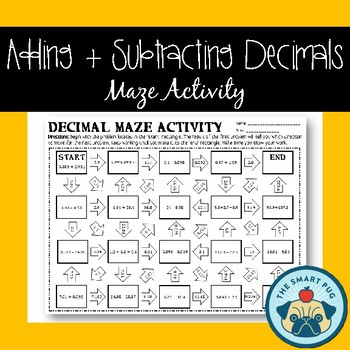 Adding + Subtracting Decimals Maze - Worksheet