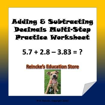 Adding & Subtracting Decimals Multi-Step Practice Worksheet